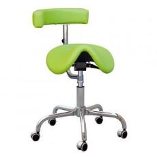 Kovová židle Cline F Dental, sedačka otočná s otočnou opěrou, podnož F, chrom, čalouněná, barva koženky č. 14