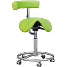 Kovová ždle Cline-K Dental, sedačka otočná s otočnou opěrou, kruhová podnož, chrom, čalouněná, světle šedá SA3