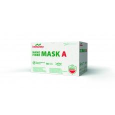 NANO FIBER MASK A - zdravotnická obličejová maska s filtrem z nanovláken, s úvazky, čtyřvrstvá, nesterilní, 50 ks